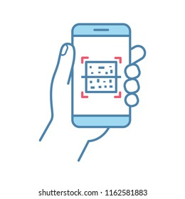 QR code smartphone scanner color icon. Quick response code. Matrix barcode scanning mobile phone app. Isolated vector illustration