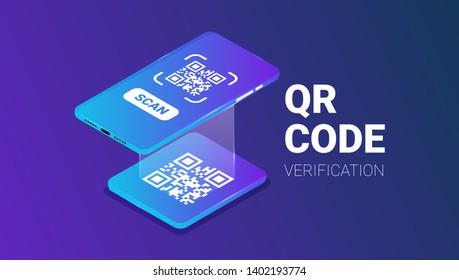 QR code verification service web banner isometric vector
