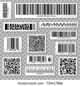 QR codes, bar and packaging labels isolated on transparent background. Qr label for scan, bar code sticker, vector illustration