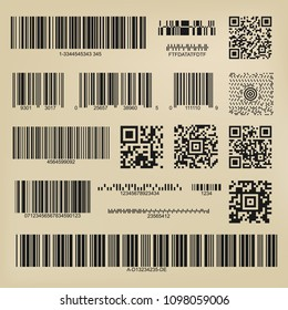 Qr codes and barcodes. Digital payment and information data labels