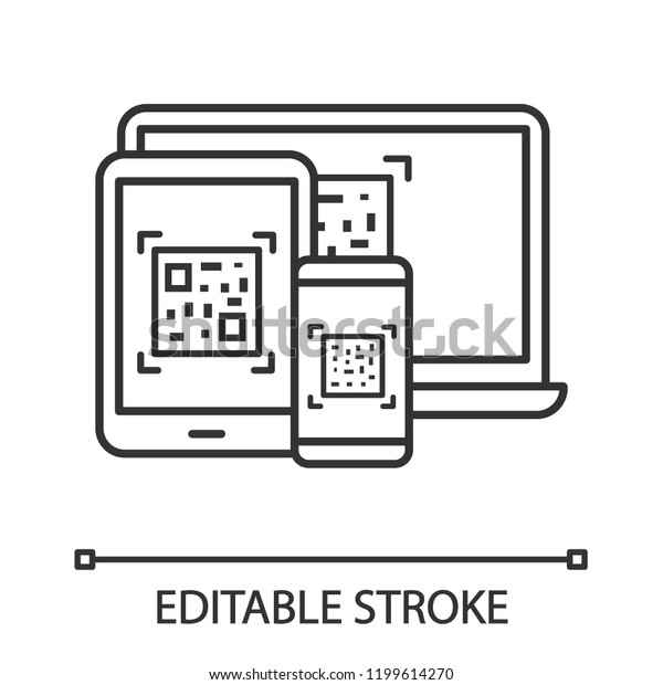 Qr Codes On Different Devices Linear Stock Vector (Royalty