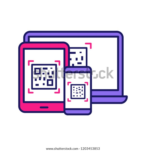 Qr Codes On Different Devices Color Stock Vector (Royalty