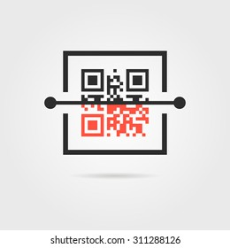 qr scan icon with shadow. concept of encode, matrix, ecommerce, software, access, marketing, scanning. isolated on gray background. flat style trend modern logo design vector illustration