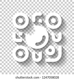 QR scanner, Scan by mobile camera, logo for app, icon with qrcode and lens. White icon with shadow on transparent background