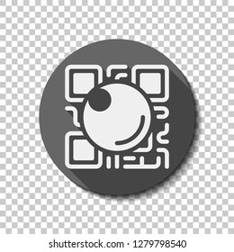 QR scanner, Scan by mobile camera, logo for app, icon with qrcode and lens. flat icon, long shadow, circle, transparent grid. Badge or sticker style