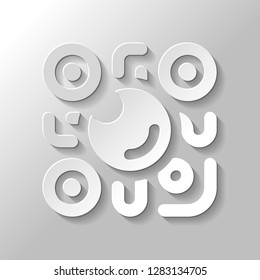 QR scanner, Scan by mobile camera, logo for app, icon with qrcode and lens. Paper style with shadow on gray background