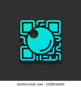 QR scanner, Scan by mobile camera, logo for app, icon with qrcode and lens. Colorful logo concept with soft shadow on dark background. Icon color of azure ocean