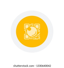 QR scanner, Scan by mobile camera, logo for app, icon with qrcode and lens. Icon in colored circle with gray bold border. Web button, modern flat design