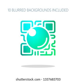 QR scanner, Scan by mobile camera, logo for app, icon with qrcode and lens. Colorful logo concept with simple shadow on white. 10 different blurred backgrounds included