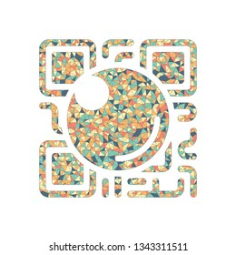 QR scanner, Scan by mobile camera, logo for app, icon with qrcode and lens. Colored mosaic with polygons