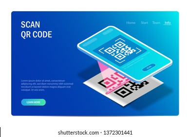 Qr Verification Concept. Mobile phone with a scanner reads the qr code. Machine-readable barcode on smartphone screen. Vector editable hi tech illustration in isometric style.
