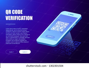 Qr verification. A mobile phone with a scanner reads the qr code. Vector hi tech illustration isometric style. machine-readable barcode on smartphone screen