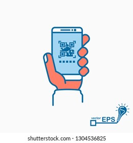 Qrcode. Barcode scan. Mobile phone in hand, minimalist design, colored icon black line. Smartphone for scanning and product identification.