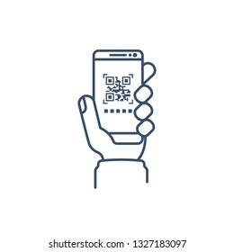 Qrcode. Barcode scan. Mobile phone in hand, minimalist design, black line icon. Smartphone for scanning and product identification.