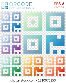 Qrcode geometric polygonal icons, beautiful mosaic style symbol collection. Optimal low poly style, modern design.