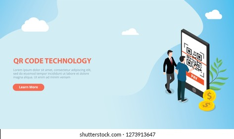 qrcode isometric online payment technology scan with business man team people standing side of big smartphone with gold coin money - vector