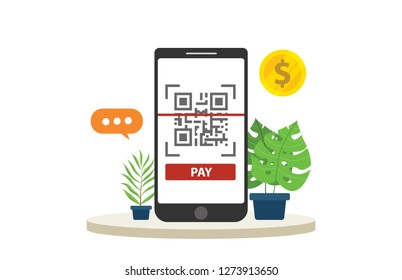 qrcode mobile payment technology isolated with big smartphone focus and gold coin money - vector