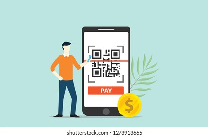 qrcode online payment technology scan with business man standing side of big smartphone with gold coin money - vector