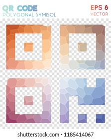Qrcode polygonal symbol, authentic mosaic style symbol. Sightly low poly style, modern design.