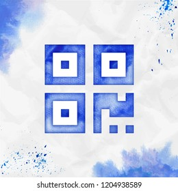 Qrcode watercolor icon. Awesome hand drawn style symbol. Decent painting. Modern design for infographics or presentation.