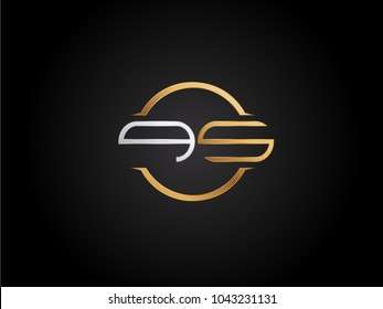 QS circle Shape Letter logo Design in silver gold color