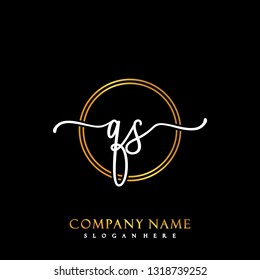 QS Initial Handwriting logo template vector