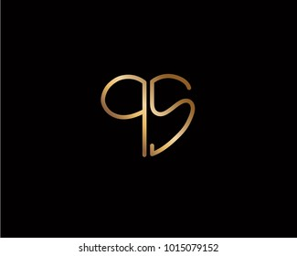 QS initial heart shape gold colored logo