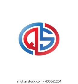 QS initial letters looping linked ellipse logo red blue