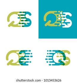 QS letters logo with accent speed in blue and light green