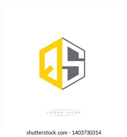 QS Logo Initial Monogram Negative Space Design Template With Yellow and Grey Color - Vector EPS 10