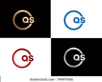QS Logo. Letter Design Vector with Red and Black Gold Silver Colors