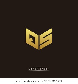 QS Logo Letter Initial Logo Designs Templete with Gold and Black Background