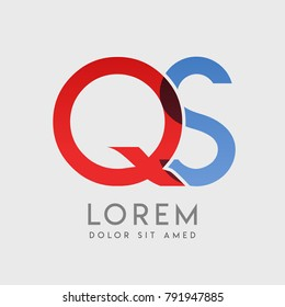 "QS logo letters with ""blue and red"" gradation"