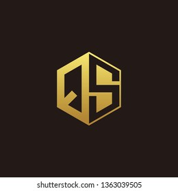 QS Logo Monogram with Negative space gold colors