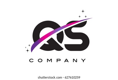 QS Q S Black Letter Logo Design with Purple Magenta Swoosh and Stars.