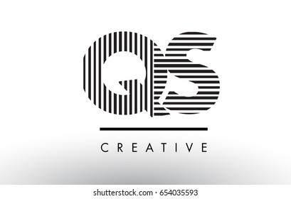 QS Q S Black and White Letter Logo Design with Vertical and Horizontal Lines.