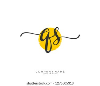 QS Q S Initial handwriting logo template