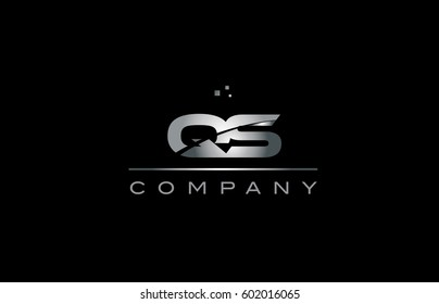 qs q s  silver grey metal metallic alphabet technology company letter logo design vector icon template black background
