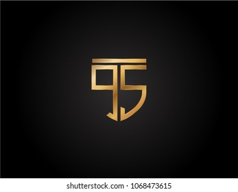 QS shield shape Letter Design in gold color