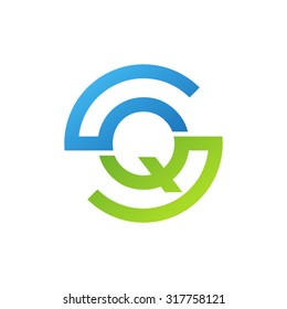 QS SQ initial company circle S logo blue green