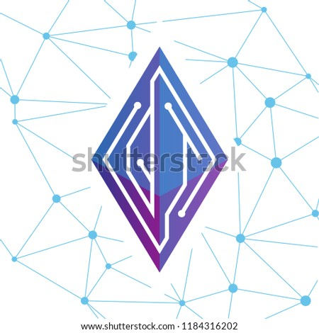 Qt Initial Letter Block Chain Logo Stock Vector Royalty Free