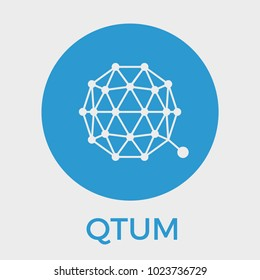 Qtum decentralized blockchain Ethereum contracts on Bitcoin. Qtum cryptocurrency vector blue logo