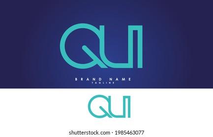 QU Alphabet QU letter Initials Monogram logo UQ, Q and U