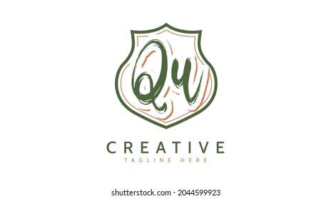 QU Initials, handwriting logo vector