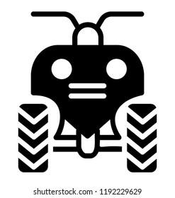 Quad bike, all terrain vehicle or quadricycle transportation icon