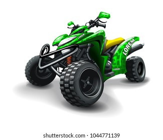 Quad bike, with camouflage stains on white background.