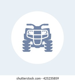 quad bike icon, all terrain vehicle, atv, quadricycle vector sign, icon isolated on white, vector illustration