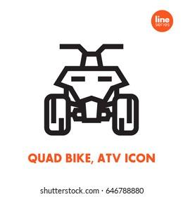 quad bike icon, all terrain vehicle ATV, quadricycle on white, linear style