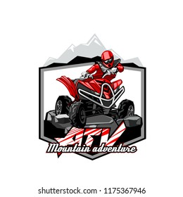 Quad Bike Off-Road ATV Logo, Mountain adventure.
