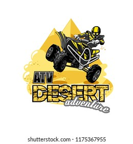 Quad Bike Off-Road ATV Logo, Desert adventure.